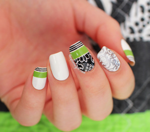 More photos & info here: http://www.lacquerstyle.com/2014/04/white-green-and-black-baroque-nails.html