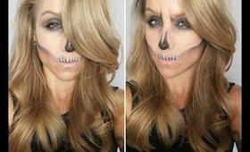 Half Skull Halloween Makeup Tutorial   Primp Powder Pout