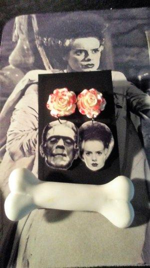 Frankenstein's monstern and bride earrings and bone hair clip