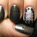 Black glitter polish & silver foil ^_^