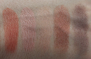 MAC, Naturally Swatches: Early Morning, Blonde, Redhead, In The Sun, Twilight Falls
