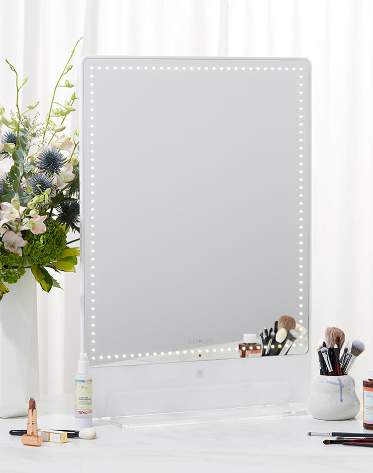 Alternate product image for Riki Tall Vanity Mirror shown with the description.