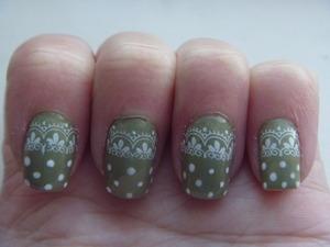Lace and Polka Dot Nail Art, October 20 2011