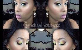 Fall- inspired eyeshadow tutorial- candy corn color- Subtle Halloween Makeup