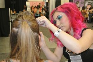 Behind the scenes doing make up at IMATS