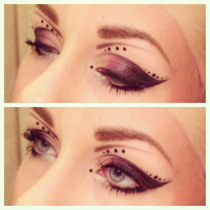 eyeliner, black and purple eyeshadow, rhinestones and mascara is what you need for this look ^^