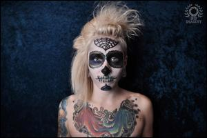 Dia De Los Muertos Makeup I would just like to say, photo credit goes to my amazing friend Brian Delumpa, of Brian Delumpa Imagery. This was my first real freelance job, for a special Dia De Los Muertos inspired shoot. Only the face makeup is my work, tho