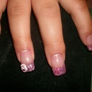 Pink sea shell tips w/ 3d nail art