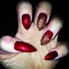 Gold Sparkle & Metallic Red Nails