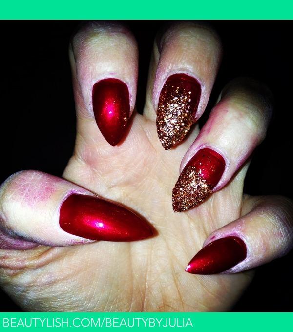 Gold Sparkle Amp Metallic Red Nails Julia S S Beautybyjulia Photo Beautylish