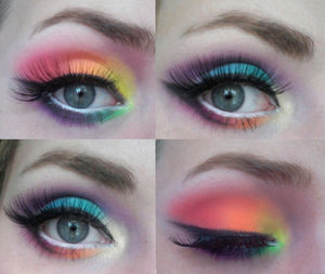 """Sassy rainbow make up using the sleek acid palette and the sleek lagoon palette.  These are the palettes I got from my sister for my birthday, and the pigmentation is divine.   All products used:  Urban Decay Primer Potion   Urban Decay Naked palette  NYX Jumbo eyeshadow pencil in """"Milk"""" Sleek i-divine acid palette  Sleek  i-divine lagoon palette  MAC Fluidline gel liner in """"Blacktrack""""  Red Cherry #118 Lashes"""