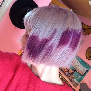 Lilac Toner with Purple abstract hearts dyed overtop.