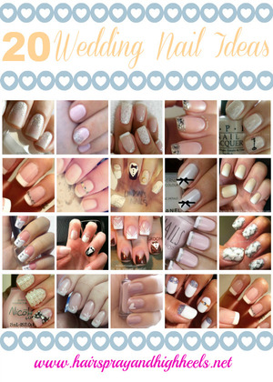 Links & credits on the blog http://www.hairsprayandhighheels.net/2013/03/20-wedding-nail-art-ideas.html
