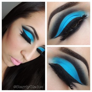 I'm wearing Anastasia Beverly Hills 'electric blue' hypercolor on the lid, with noir covet liner to cut the crease, blended out with MAC's carbon :)  Check out Makeup by Starrly on facebook!