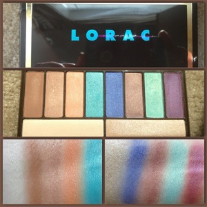 The Lorac GloGetter Palette is exclusively sold at Ulta, it's only 20$  and I had to have it, 20 bucks for this awesomeness! As you can see the shades are HIGHLY pigmented the two aqua blues, AMAZING!!! I highly recommend you head out now and get your own today :)