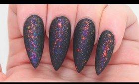 How To: Matte Black Fire Opal Stiletto Nail Tutorial
