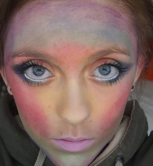 Day 20 of the #28DaysOfArt challenge! This look inspired by a finger paint of a rainbow I saw this morning!