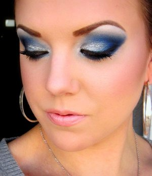 "A blue look using Kat Von D's ""Metal Orchestra"" palette and, of course, adding some glitter!!"