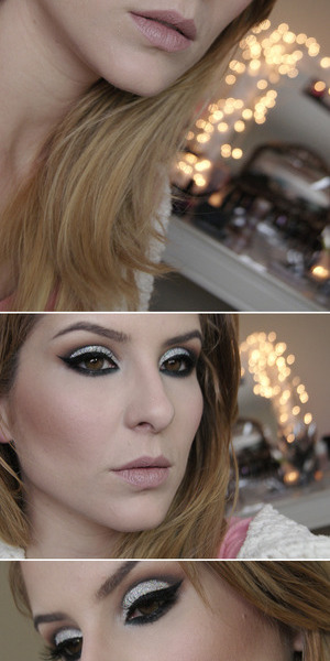 make com muito glitter holográfico prata, esse é da marca Lu Peres Makeup  tutorial: http://claudiaguillen.inbloodesign.com/2013/10/tutorial-muito-glitter-w-makeupgeek-e.html