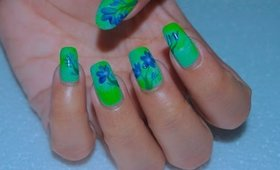 Blue Flowers Nail Art