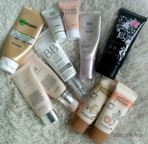 A large part of my Bb cream collection :) http://beautychokes.blogspot.ca/2013/03/confessions-of-bb-creamaholic.html
