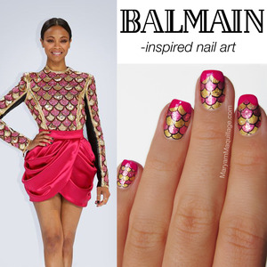 hand-painted nail art inspired by Zoe Saldana in Balmain. Details here: http://www.maryammaquillage.com/2013/05/balmain-zoe-meet-nail-art.html