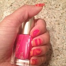 Pink and Orange marble nails