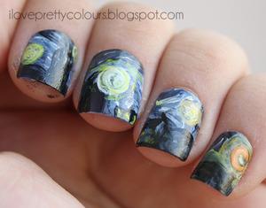 "Inspired by Van Gogh's ""Starry Night""  http://iloveprettycolours.blogspot.com/2012/09/day-twenty-seven-inspired-by-artwork.html"