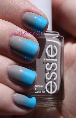 Essie Master Plan, Orly Skinny Dip gradient sponged on using makeup wedge sponge.