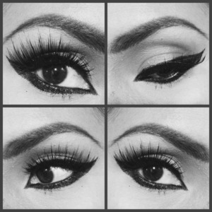 I love this look with heavy black eye liner and doubled up on some falsies