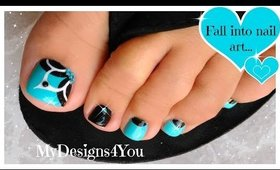 Baby Blue, Floral Toenail Art, Pedicure Tutorial ♥
