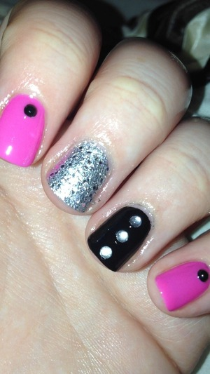 """Pink: Sinful Colors """"Bianca"""" Black: """"Sally Hansen Complete Salon Manicure """"Onyx"""" Silver: Sinful Colors :Beauty Queen"""" Gems from eBay."""