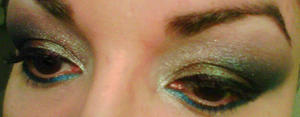 Dec. 31 2011 closeup of eyes I dipped my eyeliner brush in some water and used Sugarpill's Afterparty as eyeliner