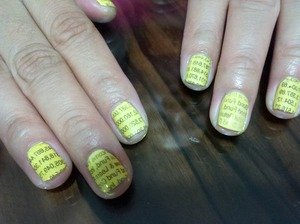 I decided to peruse the stock market section of the newspaper to do my accountant friend's nails. :)