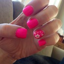 Hot Pink Nails with Flowers