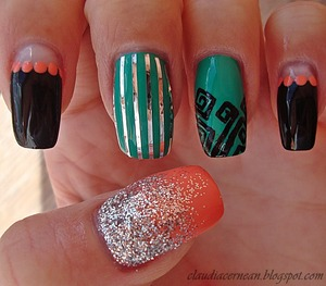 Tutorial on : http://claudiacernean.blogspot.ro/2013/03/unghii-mixte-mixed-nails.html