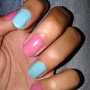 pink n blue nails..!!