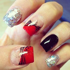 Red Black Silver Glitter