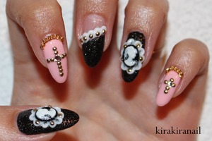 """♡ Products I used ♡ """"Black Swan"""" by L'Oreal Color Riche """"Black"""" (Lame Nail color, Nr. 10) by Mono comme ça """"Nebline"""" (Nr. 77) by Maybelline (Colorama) Crystals from Studio Nail (rakuten.com): SS5 & SS9 Studs from Nail Supply (http://www.rakuten.ne.jp/gold/nailsupply/) Striping tape: http://global.rakuten.com/en/store/harukastore/item/10000103/ Nail chain from bornprettystore.com Cameos from Etsy, I'm not sure if these are the exact ones I bought but here's the link: http://www.etsy.com/listing/118649255/rc-117-1-30pcs-cute-black-beauty-head?ref=shop_home_active&ga_search_query=cameo&ulsfg=true  Acrylic Powder and liquid (acrylic monomer) Base and top coat"""