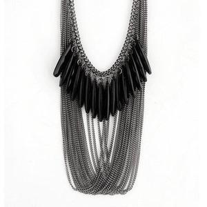 Retro Style Black Synthetic Gemstone Multilayer Bib Necklace-$2.99