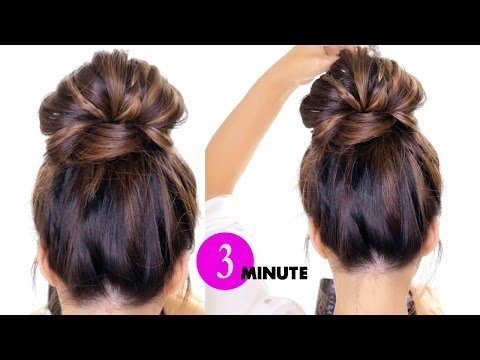 3 Minute Bubble Braid Bun Hairstyle Easy Holiday
