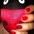 Ladybug accent nail