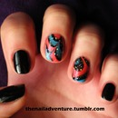 Blue and Red Watermarble Accent Nails