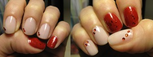 'French glam' by Essence + red polish by Debby + red sparkle top coat by Essence ('circus' collection)!!!