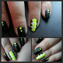 Neon quatrefoil nails
