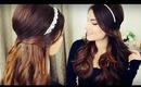DIY Holiday Headband + Voluminous Curls with Bouffant Half Up Hairstyle