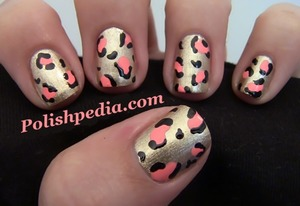 I love how these colors work together with cheetah print!  Watch My Video Tutorial @ http://polishpedia.com/gold-and-pink-cheetah-print-nail-art.html
