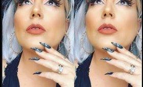 white wig n makeup look