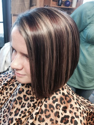 Angled bob with Carmel highlights and auburn low lights