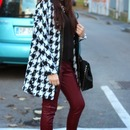 Pocketed Zippered Houndstooth Coat